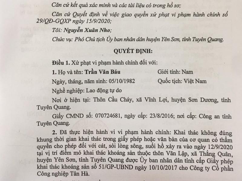 Tuyên Quang: Tại sao không xử phạt Công ty cổ phần Công nghiệp Tân Hà?